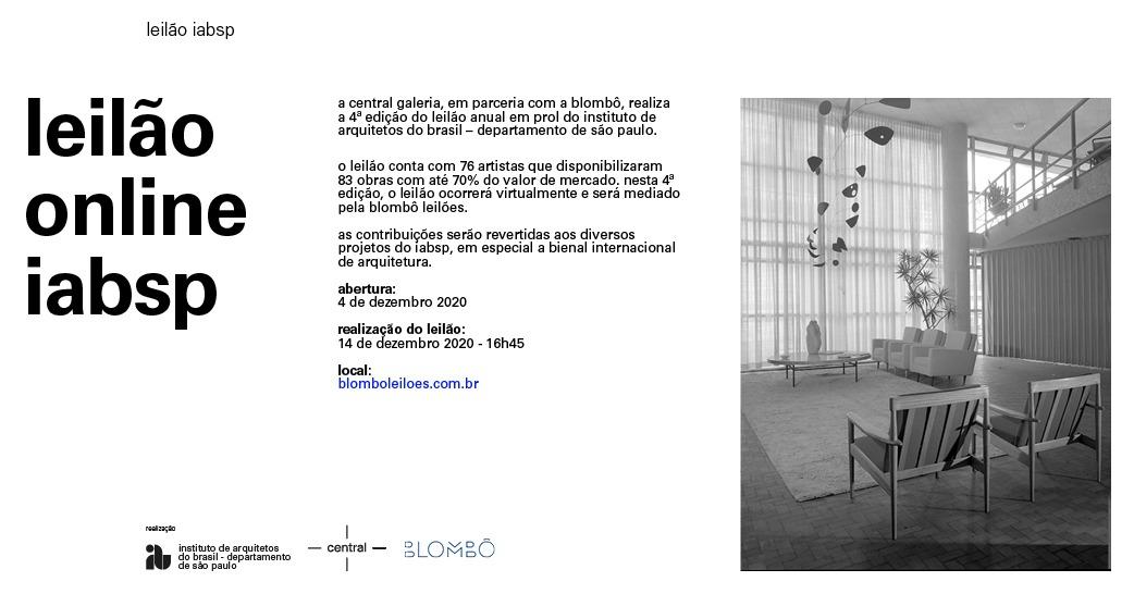 Leilão da Blombô, em apoio ao Instituto de Arquitetos do Brasil - 14/12 às 16:45 h - segunda-feira